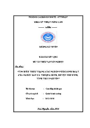 Đề tài Tìm hiểu thực trạng các nguồn nước sinh hoạt của người dân xã Thượng đình, huyện Phú bình, tỉnh Thái Nguyên