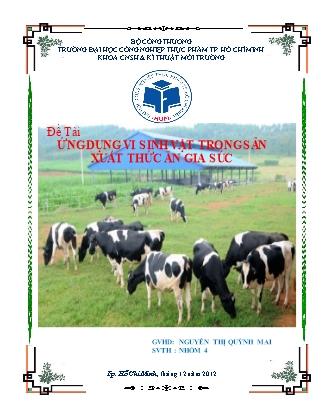 Đề tài Ứng dụng vi sinh vật trong sản xuất thức ăn gia súc