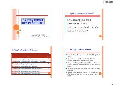 Cơ sở lý thuyết hóa phân tích 1 - Chương 1: Đại cương về Hoá phân tích