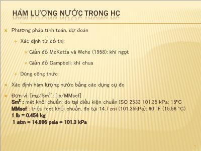 Công nghệ Hóa học - Hàm lượng nước trong HC