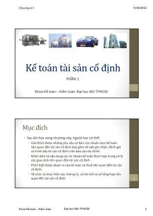Kế toán - Kiểm toán - Phần 1: Kế toán tài sản cố định