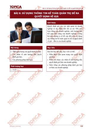 Kế toán quản trị - Bài 6: Sử dụng thông tin kế toán quản trị để ra quyết định về giá