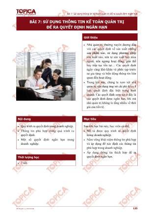 Kế toán quản trị - Bài 7: Sử dụng thông tin kế toán quản trị để ra quyết định ngắn hạn