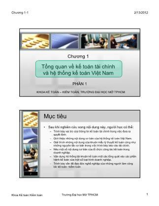 Kế toán tài chính - Chương 01: Tổng quan về kế toán tài chính và hệ thống kế toán Việt Nam