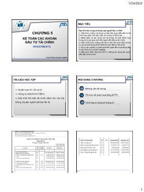 Kế toán tài chính - Chương 5: Kế toán các khoản đầu tư tài chính