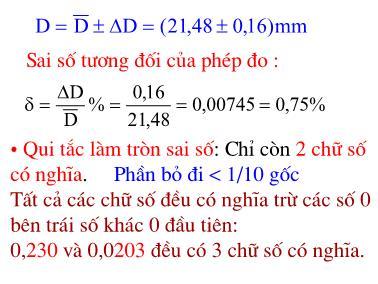Toán học - Sai số tương đối của phép đo
