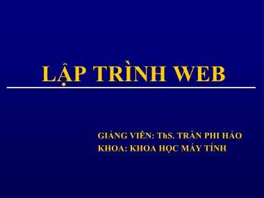 Bài giảng môn Lập trình web