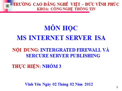 Bài giảng Ms internet server isa