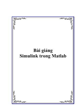 Bài giảng Simulink trong Matlab
