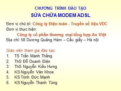 Bài giảng Sửa chữa Modem ADSL