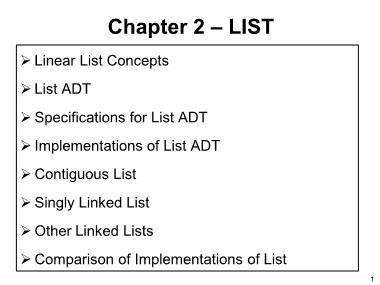 Cơ sở dữ liệu - Chapter 2: List