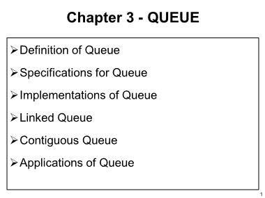 Cơ sở dữ liệu - Chapter 3: Queue