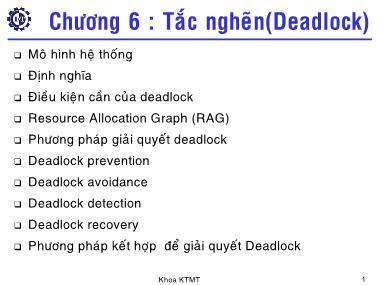 Cơ sở dữ liệu - Chương 6: Tắc nghẽn (Deadlock)