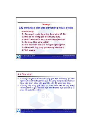 Cơ sở dữ liệu - Chương 6: Xây dựng giao diện ứng dụng bằng Visual Studio