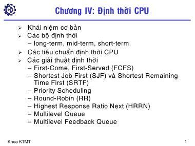 Cơ sở dữ liệu - Chương IV: Định thời CPU
