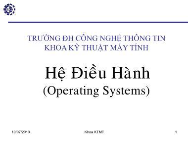 Hệ điều hành - Chương I: Tổng quan hệ điều hành