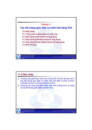 Lập trình hướng đối tượng - Chương 11: Tạo đối tượng giao diện cá nhân hóa bằng VC#