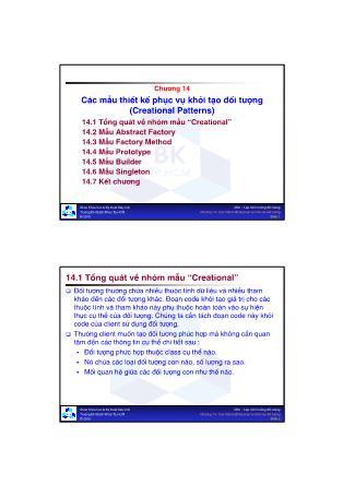 Lập trình hướng đối tượng - Chương 14: Các mẫu thiết kế phục vụ khởi tạo đối tượng (Creational Patterns)