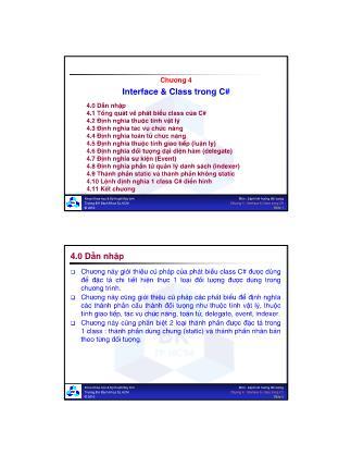 Lý thuyết ngôn ngữ lập trình - Chương 4: Interface & Class trong C#