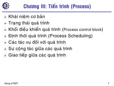 Mạng máy tính - Chương III: Tiến trình (Process)