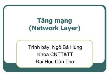 Mạng máy tính - Tầng mạng (Network Layer)