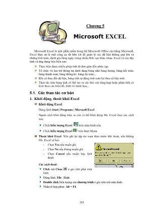 Tin học văn phòng - Chương 5: Microsoft Excel