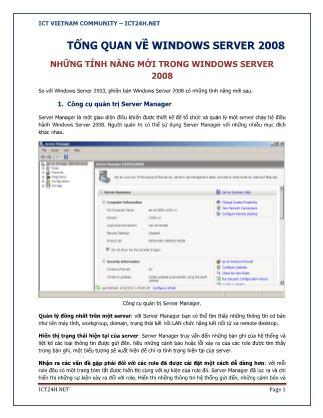 Tổng quan về Windows server 2008